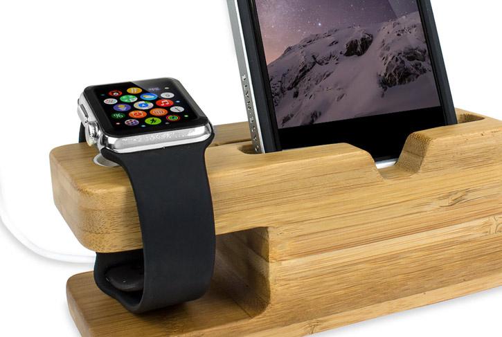 Olixar Bambou : un double support pour Apple Watch et IPhone